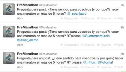 consulta tuiter ¿tiene sentido acabar una maratón en 5 horas?