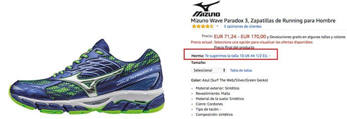 amazon sugerencia tallas zapatillas