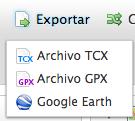 Menú de descarga de actividades garmin connect: TCX o GPX
