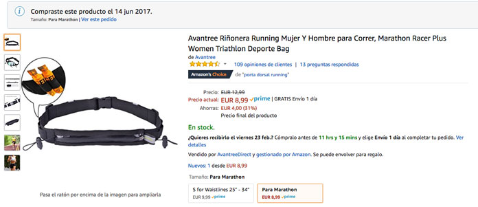 Cinturón para correr Avantree Marathon Racer Plus portadorsal y geles