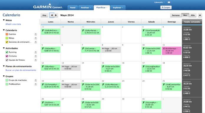 calendario de actividades garmin connect