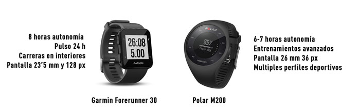 comparativa forerunner 30 versus Polar M200
