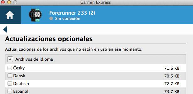 configuración del idioma en relojes gps garmin forerunner