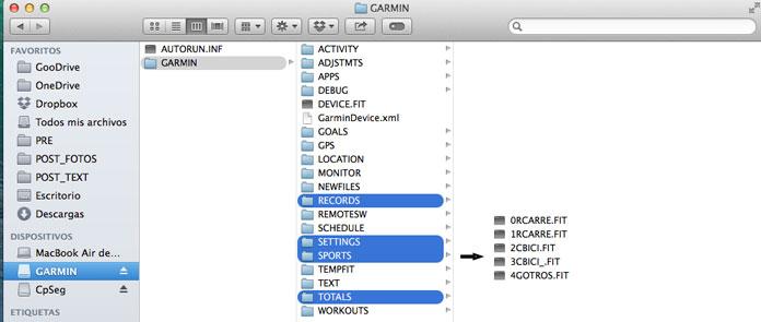 copia de seguridad de la configuración del Garmin Forerunner 235