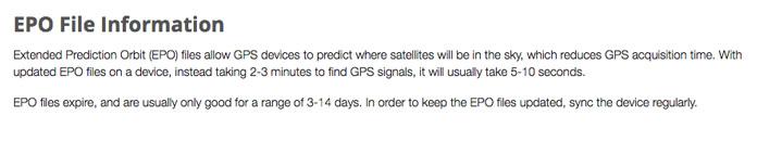 archivo epo, predicción satélites gps en garmin