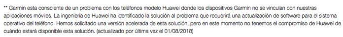 Problemas conectividad Huawei garmin connect app