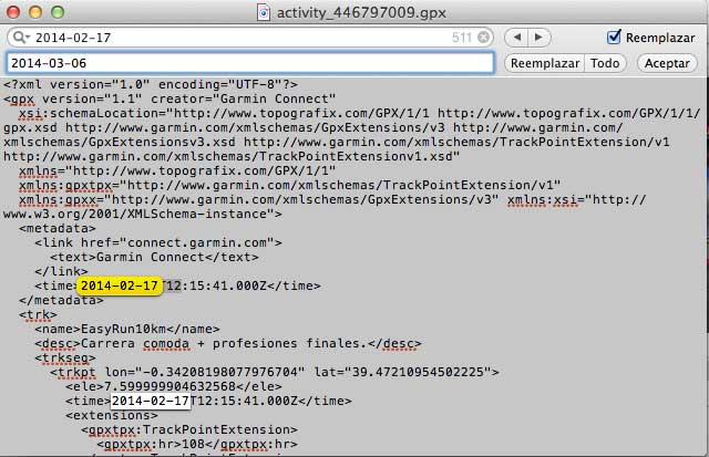 Cambio de fecha de un archivo gpx de Garmin Connect