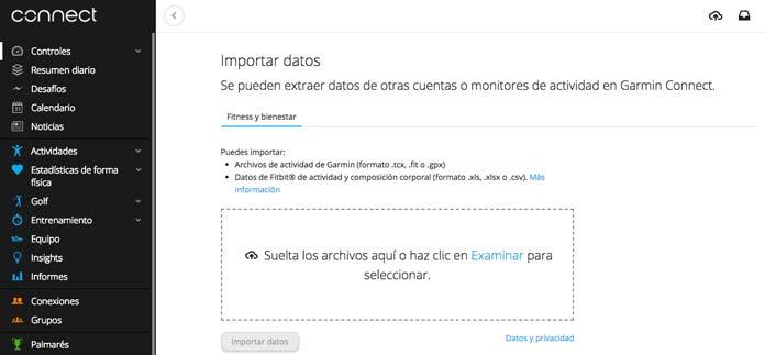 Carga manual de actividades y archivos gpx en Garmin Connect