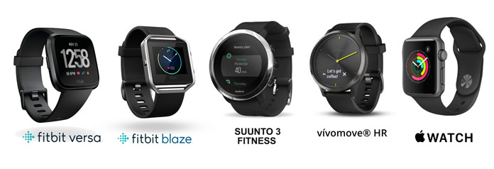 comparativa fitbit versa frente a rivales como el blaze, suunto 3 fitness, garmin vivomove o apple watch