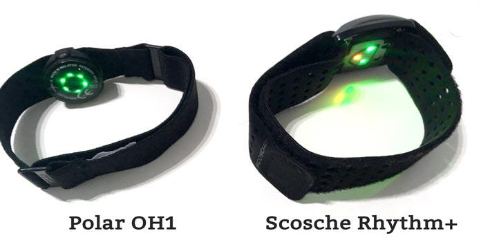 comparativa pulsómetro de antebrazo polar oh1 versus scosche rhythm plus