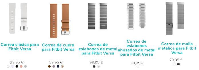 Tipos y precios correas para fitbit versa: cuero, silicona y metal