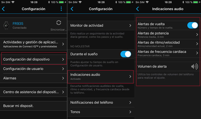 Indicaciones de audio la aplicación Garmin Connect para dispositivos Garmin