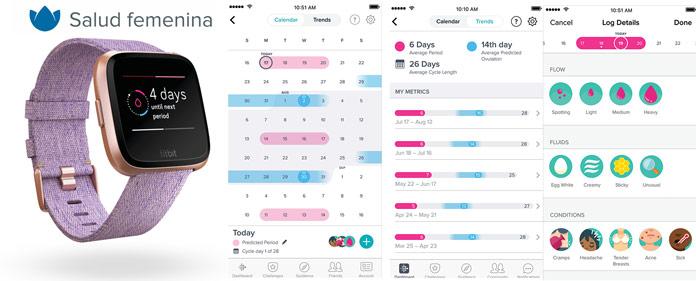 control y registro menstruación mediante aplicación móvil fitbit connect
