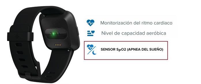 fitbit versa sensor de frecuencia cardiaca y Sp02 (saturación oxígeno en sangre)