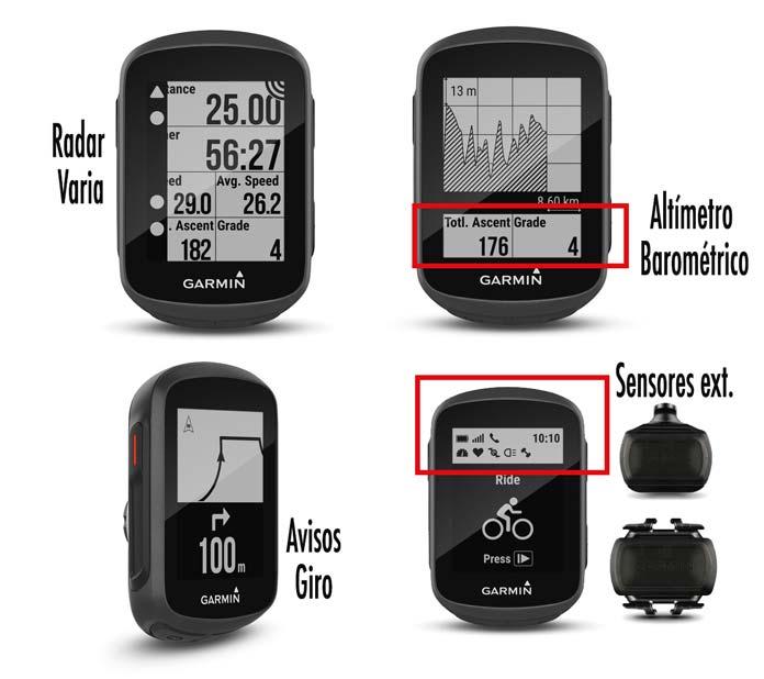 funciones principales Garmin Edge 130: navegación, radar, altímetro, desnivel acumulado y pendiente
