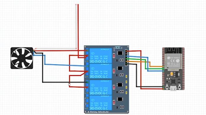 Esquema de un ventilador inteligente controlado por un pulsómetro.