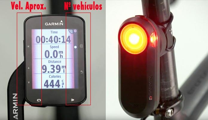 avisos al detectar un vehículo en la luz trasera radar Garmin varia RTL 510