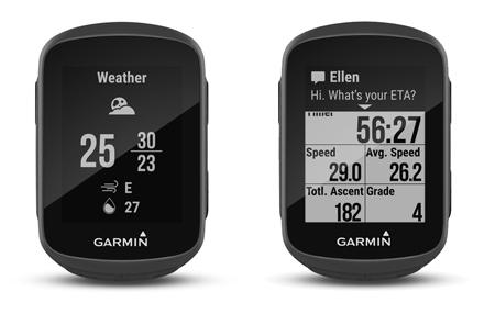 pantallas con notificaciones móviles en el garmin edge 130 y widget del tiempo