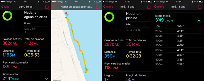 registro de datos para natación en piscina y aguas abiertas en apple watch series 2
