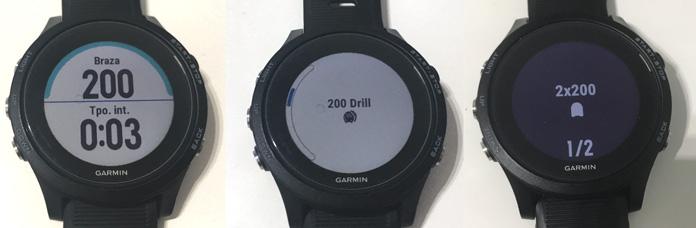 Pantallas entrenamientos programados aletas y técnica en relojes gps de Garmin