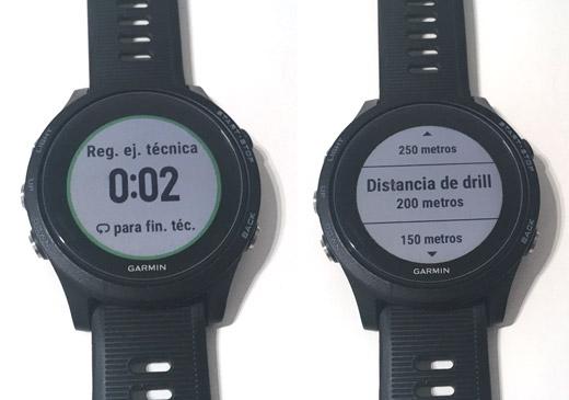 Pantalla de registro de ejercicios de técnica en perfil de natación en piscina relojes garmin