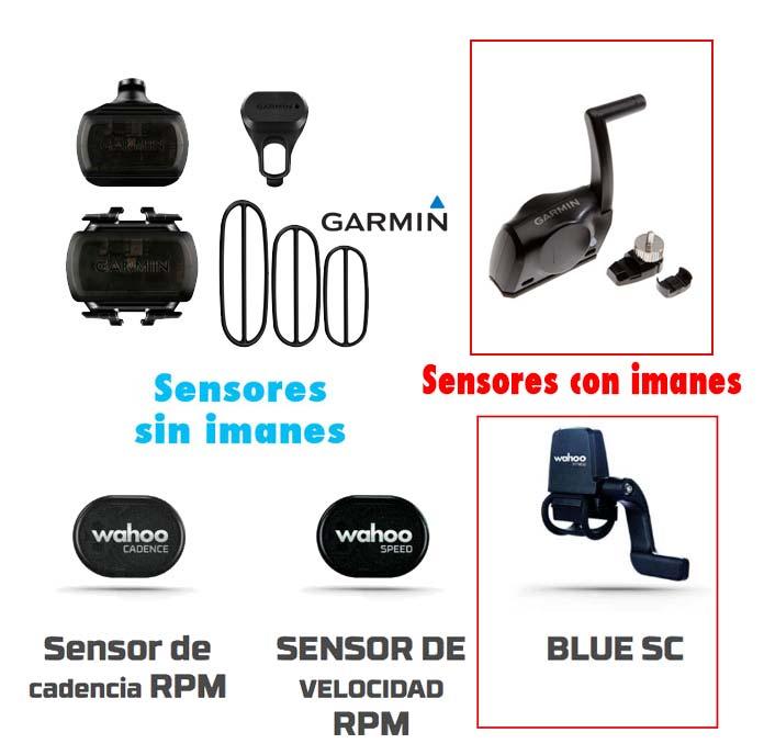 Diferencia sensores de velocidad y cadencia con y sin imanes de Wahoo y Garmin