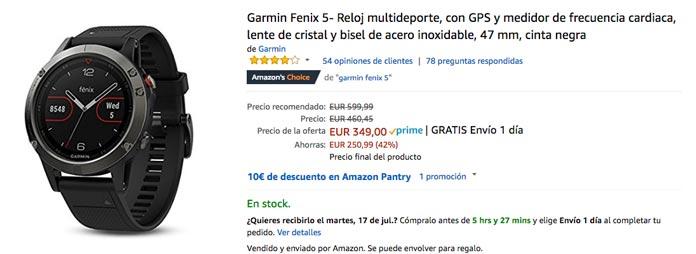 Garmin fenix 5 oferta amazon prime day