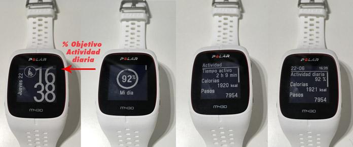 Registro de actividad diaria del Polar M430, uso como pulsera de actividad.