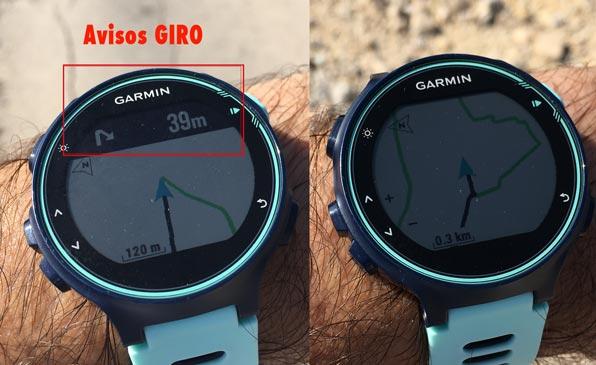 Ejemplo de pantallas de navegación en el Garmin Forerunner 735xt