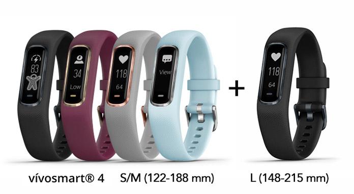 colores y tallas disponibles de la nueva pulsera de actividad garmin vivosmart 4