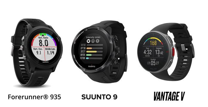 Comparativa de relojes gps para triatón Polar Vantage V, Suunto 9 y Forerunner 935