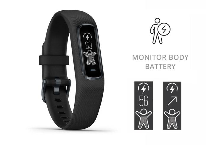 función de body battery o nivel de batería del cuerpo en pulsera de actividad garmin vivosmart 4