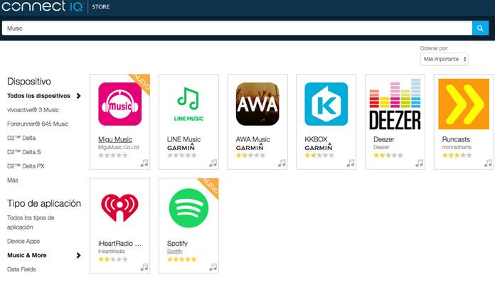 Apps música de Connect IQ Garmin