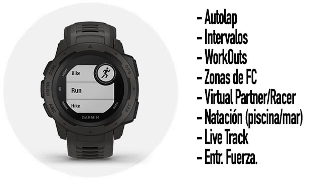 funciones deportivas del reloj gps para montaña y aventura Garmin Instinct