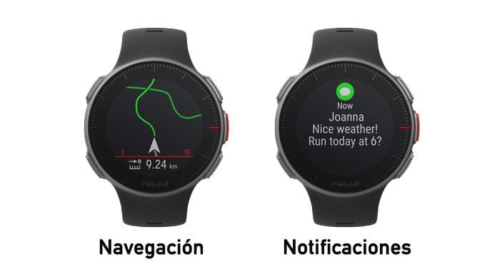 Pantallas de navegación con rutas y notificaciones móviles en la última actualización del Polar Vantage V