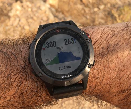 Pantallas de navegación perfil de altitud del Garmin Fenix 5