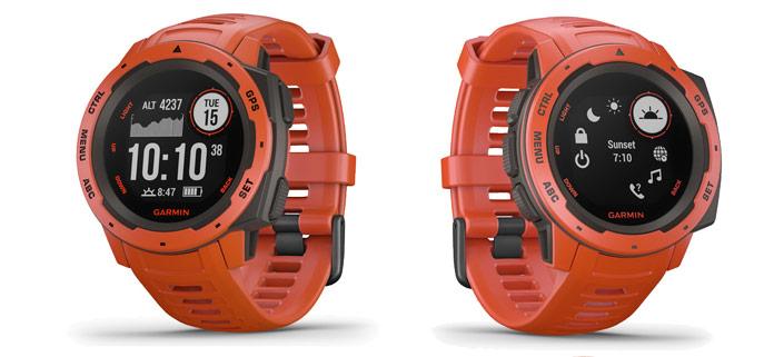 parte frontal del Garmin Instinct, reloj gps para montaña y aventura resistente a golpes