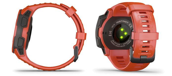 parte trasera del reloj gps Garmin Instinct con pulsómetro óptico de muñeca