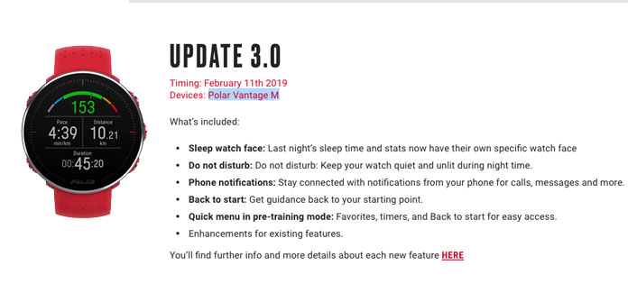 actualización back to start y notificaciones Polar Vantage M