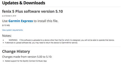 Actualización de Firmware de la serie Fenix 5 Plus añadiendo Spotify