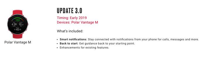 update 2019 back to start y notificaciones Polar Vantage M