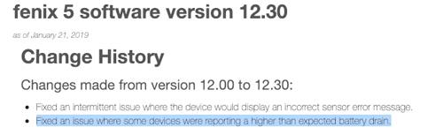 actualización 12.30 firmware Fenix 5 corregir para problemas de batería