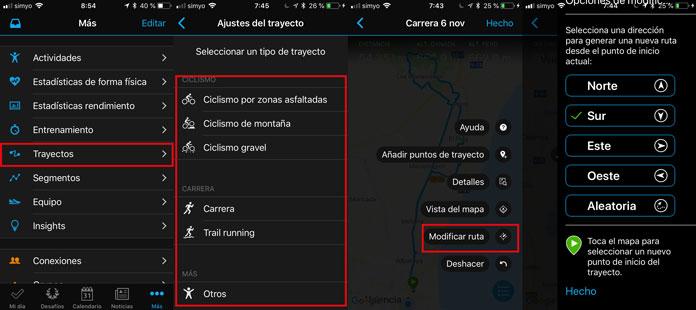 creación de rutas-trayectos desde la app móvil de Garmin Connect