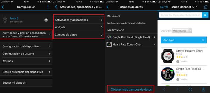 instalación de aplicaciones connect iq desde la app Garmin Connect en Fenix 5