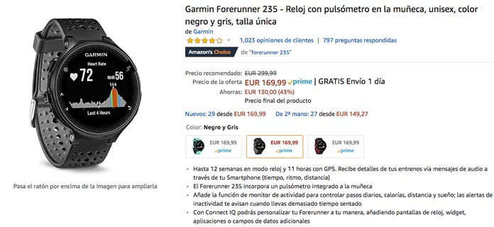 oferta black friday amazon garmin forerunner 235