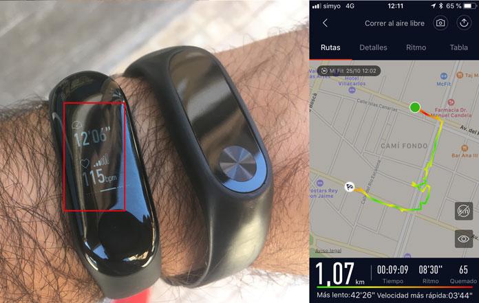 uso de la app móvil mi fit para registrar actividades de exterior con gps y la xiaomi mi band 3
