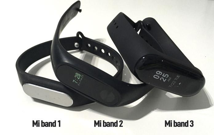 xiaomi mi band 3 comparada con la mi band 1 y la mi band 2