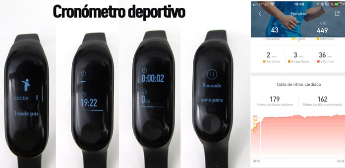uso del cronómetro deportivo de la xiaomi mi band 3