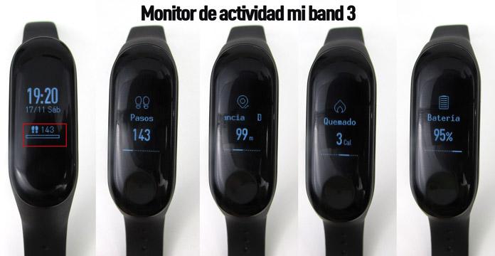 pantalla de pasos, calorías y distancia de la xiaomi mi band 3