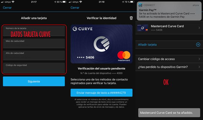 cómo añadir la tarjeta mastercard de la app Curve a Garmin Pay